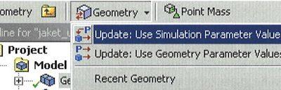 Обновление значений параметров в DesignModeler