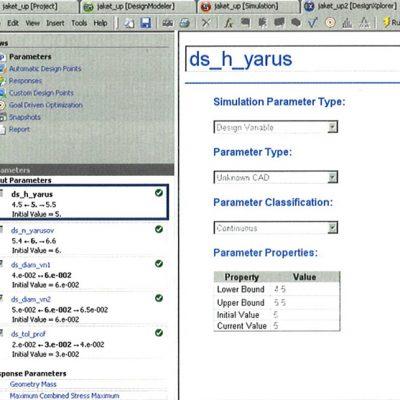 Окно модуля DesignXplorer, в котором задаются диапазоны изменения входных переменных