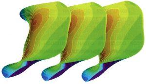 Рис. 3. Пример заливки поверхностей лопаток энтропией