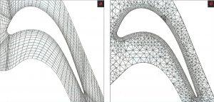 Рис. 4. Структурированная (а) и неструктурированная (б) сетки для каскада Durham