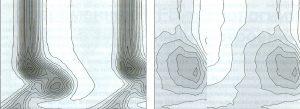 Рис. 5. Поле давления на выходе из каскада Durham, полученное на двух разных сетках