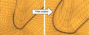 Рис. 6. Пример построения структурированной сетки для галтели