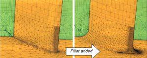 Рис. 7. Пример построения неструктурированной сетки для галтели