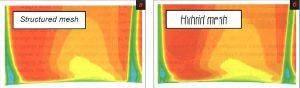 Рис. 8. Поле течения в сечении за выходной кромкой лопатки. Сечение закрашено осевой скоростью. а - модель без галтели, б - модель с галтелью