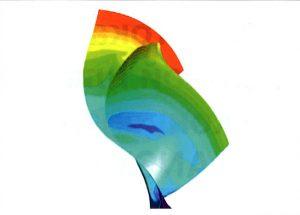 Рис. 13. Распределение температур на стенках лопаток радиальной турбины