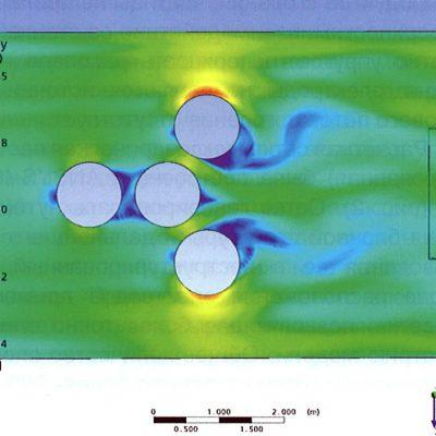 Рис. 9. Картина скоростей потока в зоне электродов