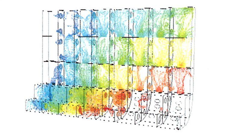 Распределение объемной концентрации проточной и первичной воды внутри бортовой балластной цистерны (с двумя воздушными клапанами) после 65 мин от начала процесса. Красным цветом выделены области, заполненные проточной водой, синим - области с первичной водой