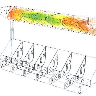 Объемная концентрация проточной воды в «твиндечной» цистерне с двумя воздушными клапанами после прокачки тройного объема воды. Отсутствие красного цвета говорит о незавершенности процесса