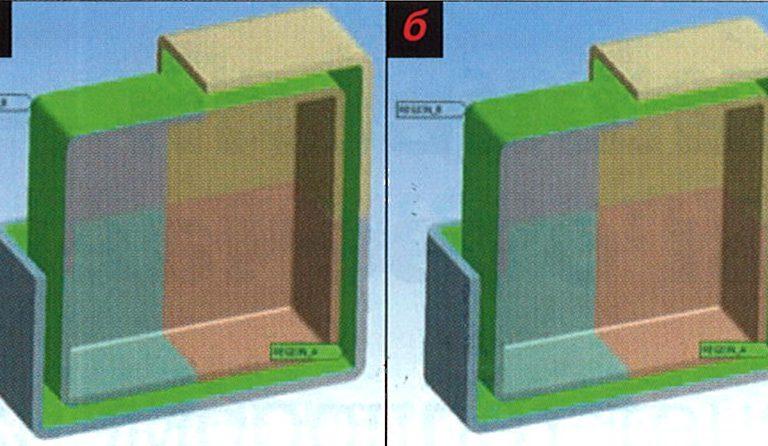 Две выборки - (Named Selections) REGION_A и REGION_B — описывают поверхности, между которыми будет происходить теплообмен излучением (а). Пример расчета лучистого теплообмена в системе из трех пустотелых блоков (б). Температура центрального маленького блока (на рисунке его поверхности сделаны прозрачными) зафиксирована. Между ним и средним (раскрашенным) блоком происходит теплообмен излучением. В свою очередь, средний блок участвует в теплообмене излучением с третьим блоком, который излучает в окружающую среду. Эта расчетная модель иллюстрирует случай с тремя областями, две из которых являются закрытыми, а одна из систем является открытой. Таким образом, метод Radiosity Solution может быть успешно использован в Workbench для решения подобных задач
