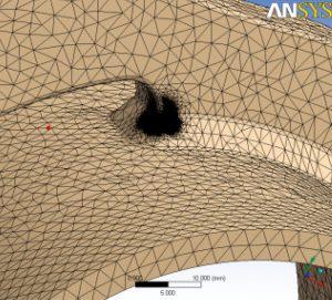 Детализация сетки подмодели с использованием функции сферы влияния